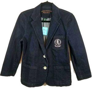 NEW Ralph Lauren blue denim blazer silver crest M